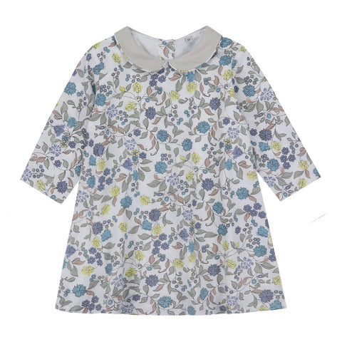 Little Cotton Clothes Betty Grey Floral Dress