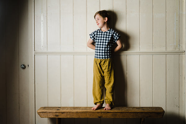 Little Cotton Clothes Mustard Muslin Trousers
