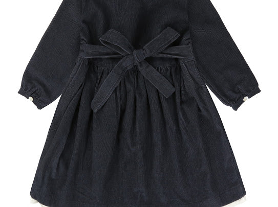 Little Cotton Clothes Agatha Dress in Charcoal Cord