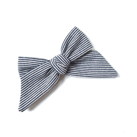 Lululuvs Tied Navy Stripe Hair Bow