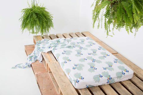 Riser Fitted Peacock Cot Sheet