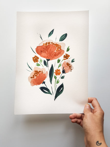 Floral Botanical Watercolour Print A5