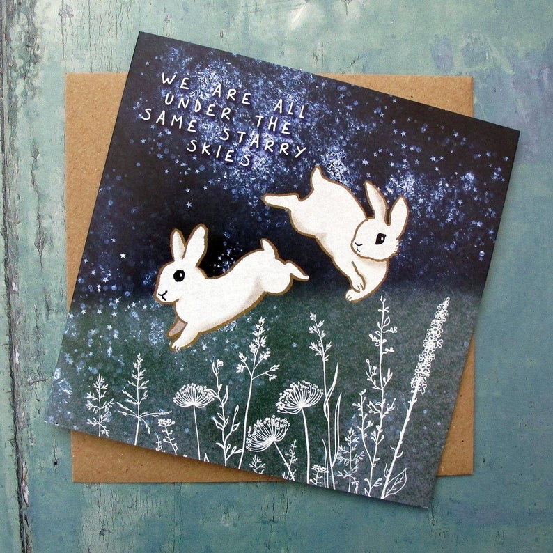 Two Starry Rabbits Card