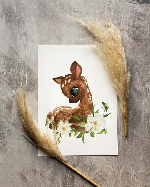 'Flower Fawn' Children's print
