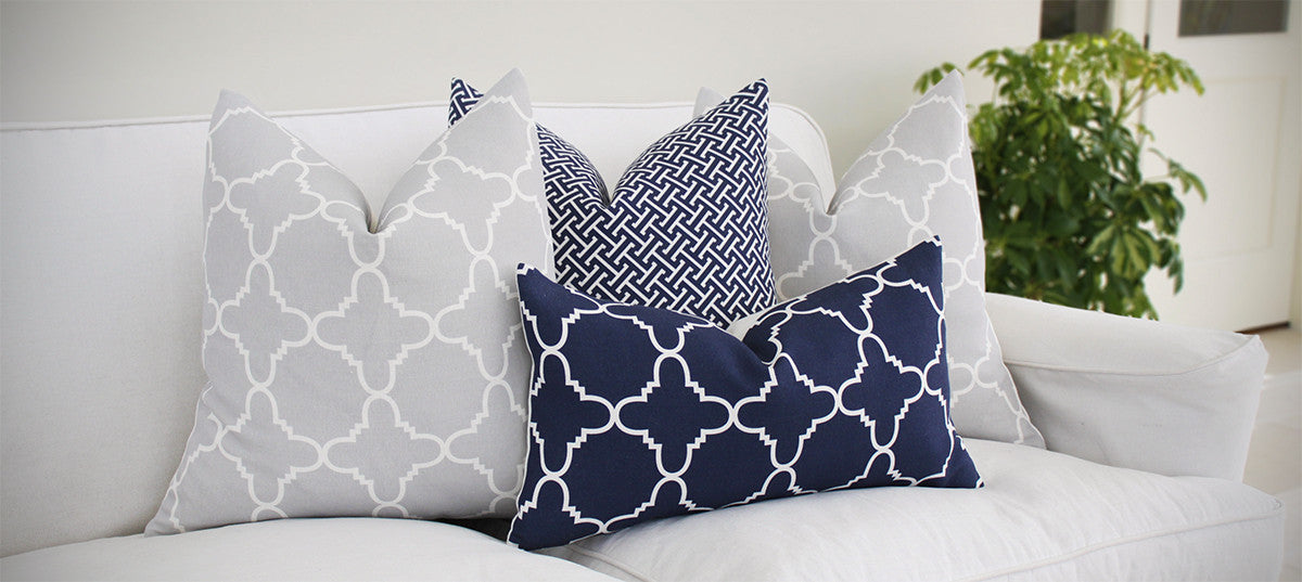 Grey and Navy Linen Cushions