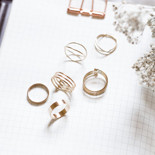 Orbit Rings Stack - Gold - The Closet 101