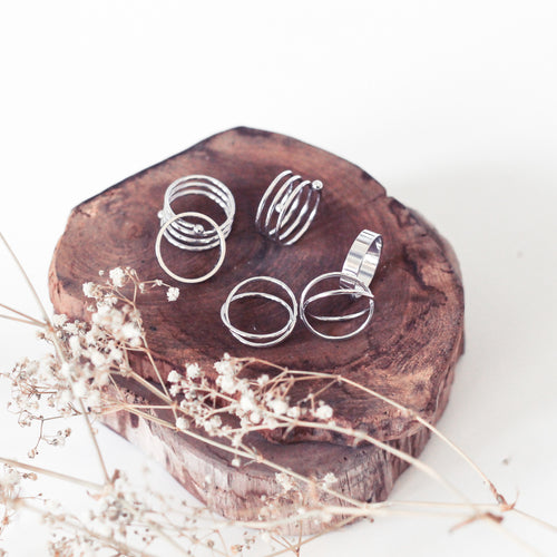 Orbit Rings Stack - Silver - The Closet 101