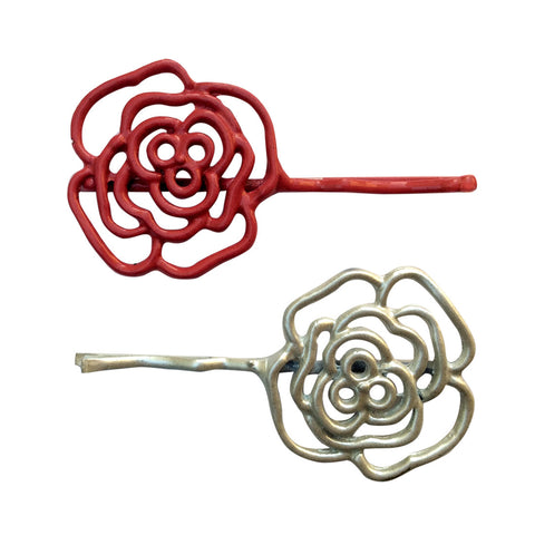 B-Fashionable Grill Flower Bobbypin (Red/White)