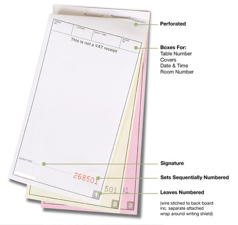 3 Part Carbonless Waiters Pads