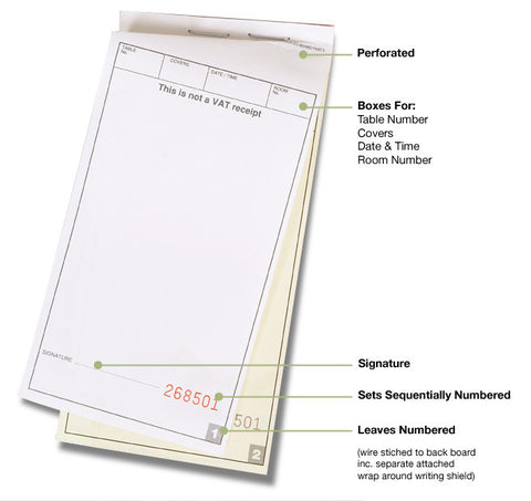 2 Part Carbonless Waiter Pads