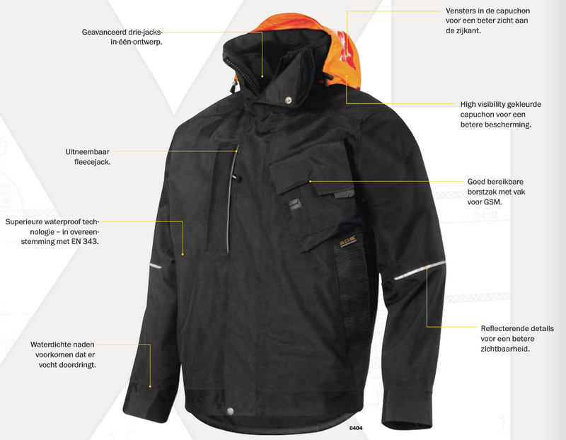 Snickers 1198 XTR A.P.S. Waterproof Winter Jack - Snickers Werkkledij