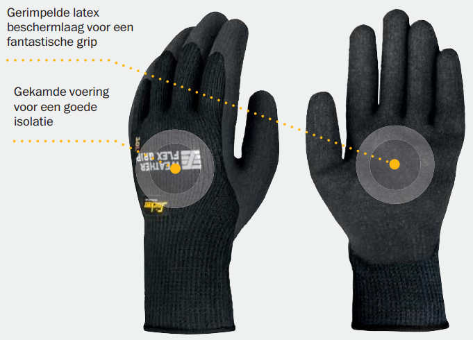 Snickers 9313 Weather Flex Grip Glove (10 paar) - Allround winter handschoen - Snickers Werkkledij