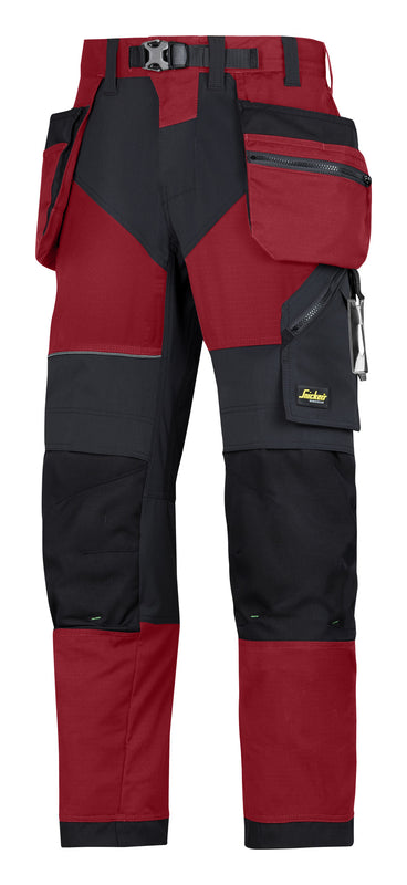 Snickers 6902 FlexiWork werkbroek met holsterzakken Chili Red - NEW -