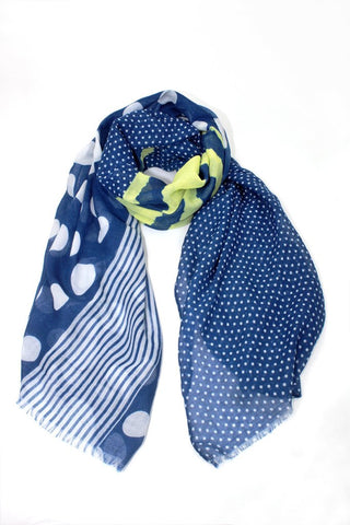Dark Blue Polka Dots and Stripes Scarf