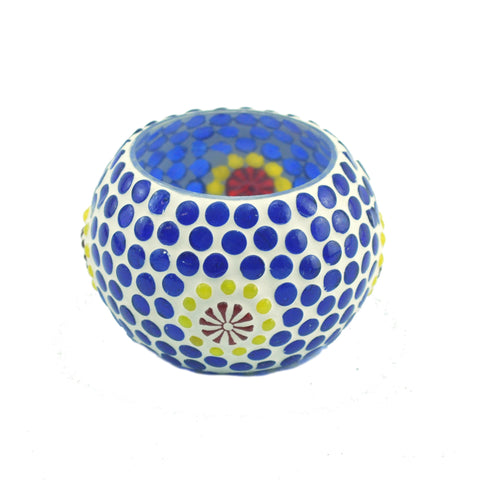 MOSAIC BLUE GLASS CANDLE HOLDER