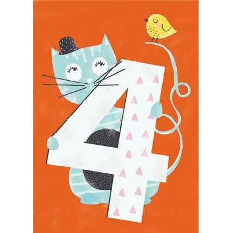 Buy 4th Birthday Cat Card from Hyde and Seek