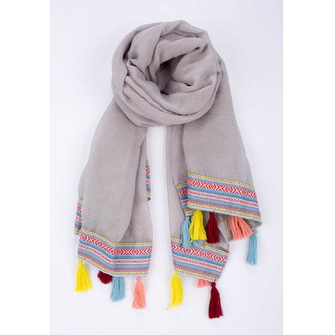 Aztec Print Scarf with Colourful Tassels in Assorted Colours