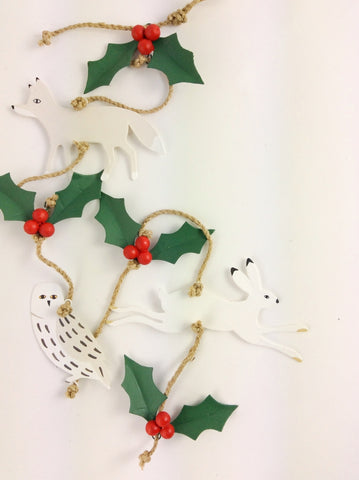 Winter Holly Metal Garland