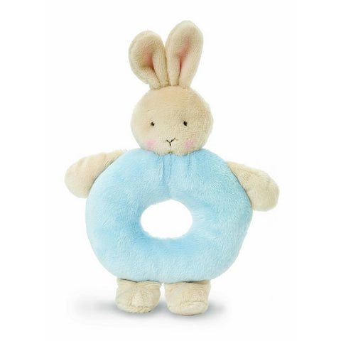 Bunny Ring Rattle in Blue