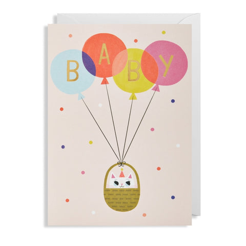 Balloon Baby Girl Card