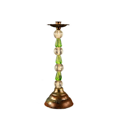 Beaded Glass Green Candle Stick Holder