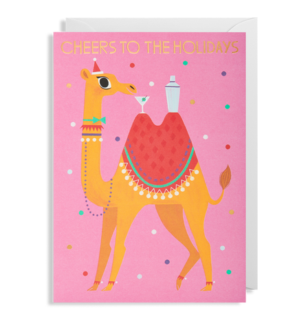 Cheers To The Holidays Llama Christmas Card