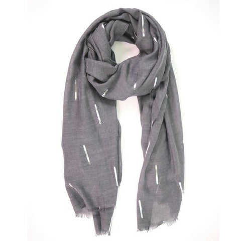 Dark Grey Scarf with Silver Matchstick Design