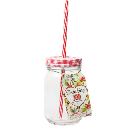 Drinking Jar With Red Lid And Straw