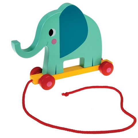 Elvis The Elephant Wooden Pull Along Toy