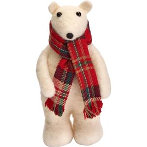 Felt Polar Bear with Check Scarf
