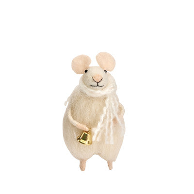 FLUFFY FELT MOUSE WITH BELL
