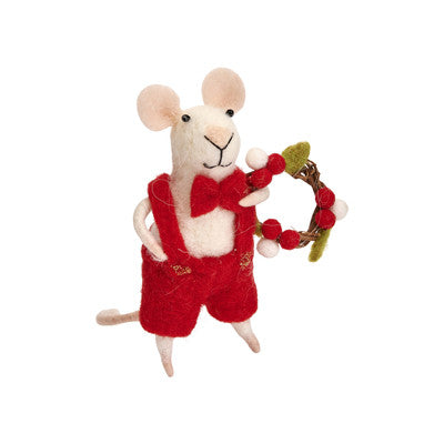 Felt Christmas Mouse With Wreath