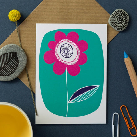 Buy Turquoise Retro Flower Card from Hyde and Seek