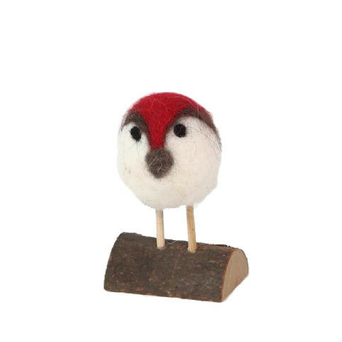 Felt Robin On Log Decoration