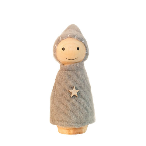 Grey Wooden and Felt Elf