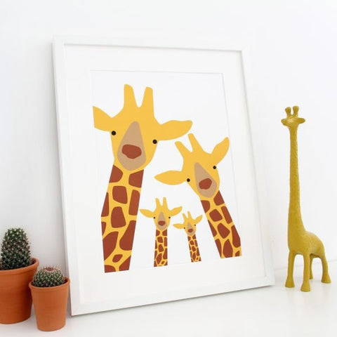 Giraffe Family Prints