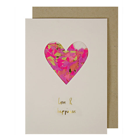 Love & Happiness Confetti Heart Card by Meri Meri