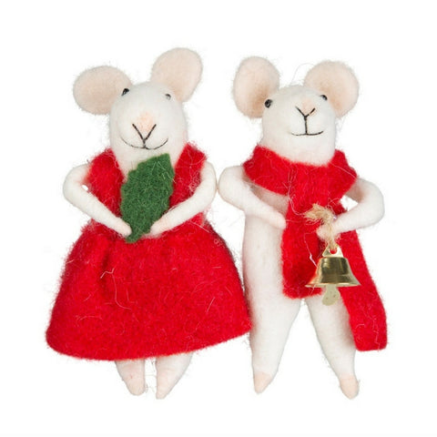 Millie And George Xmas Mice Standing Decoration