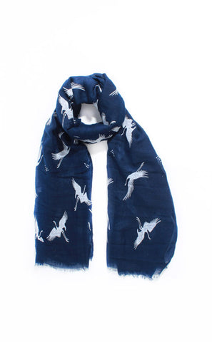 Navy Blue Flamingo Scarf