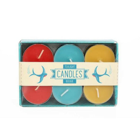 Pack of 12 Colourful Tea Light Candles
