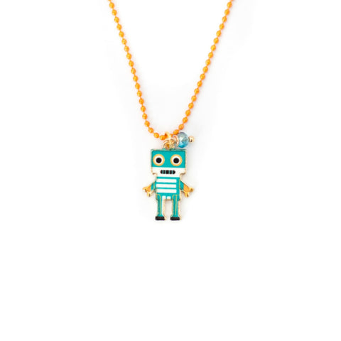 ROBOT ON BEADED CHAIN NECKLACE