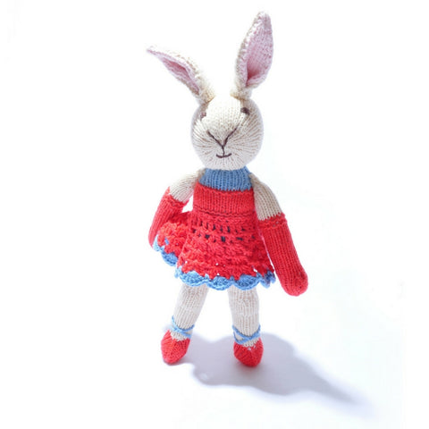 Rabbit In Red Ballet Dress Knitted Toy