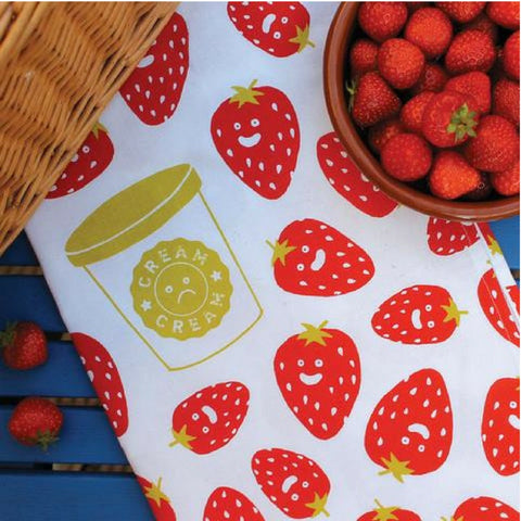 SWEET STRAWBERRIES AND SOUR CREAM TEA TOWEL