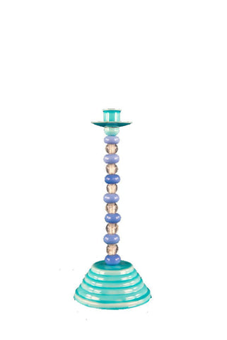 Beaded Glass Turquoise Candle Stick Holder
