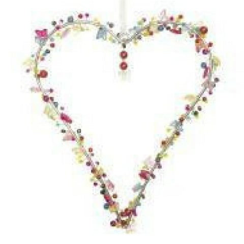 HEART DECORATION WITH BEADS AND BUTTERFLIES