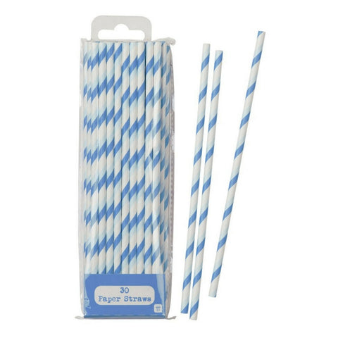 Blue and White Stripe Straws by Talking Tables