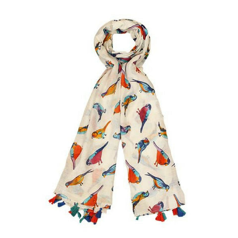 Tropical Bird Design Scarf With Colourful Tassels