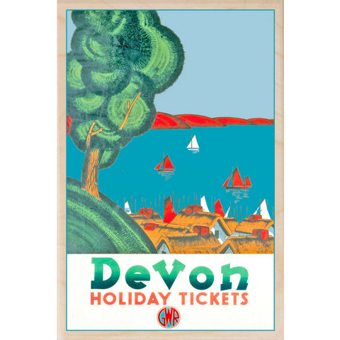 Devon Holiday Ticket Wooden Fridge Magnet