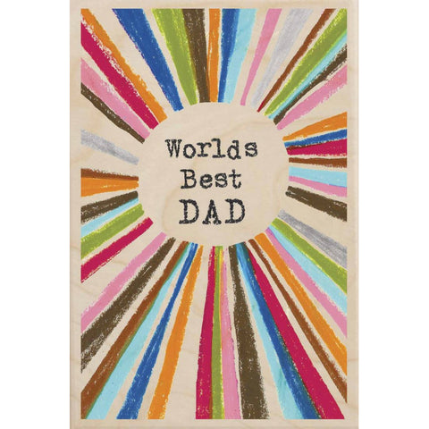 Worlds Best Dad Wooden Postcard
