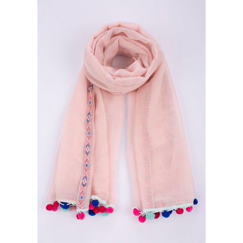 Aztec Trim Scarf with Multi-coloured Pom Poms in Assorted Colours